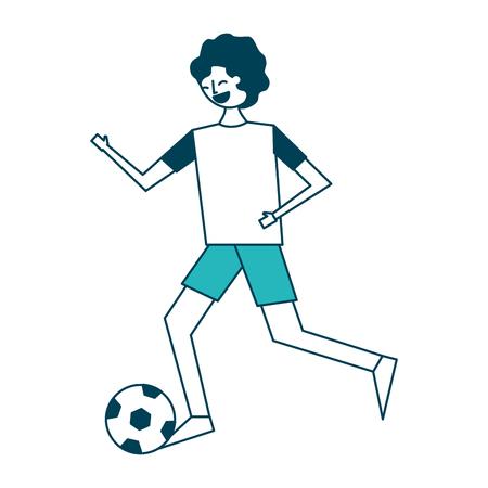 サッカーボールベクトルイラストグリーンデザインで実行している若い男