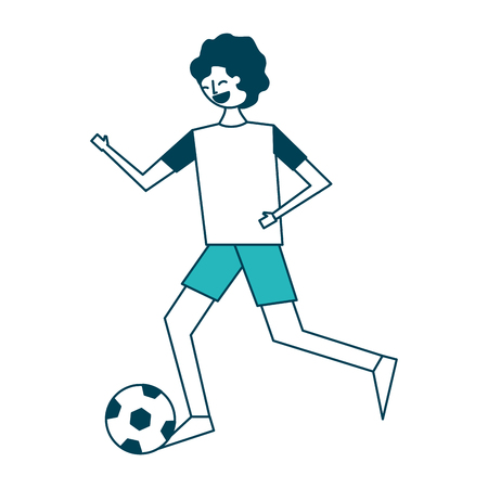 young man running with soccer ball vector illustration green design