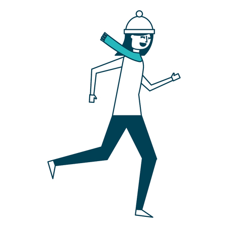 cute woman running in warm clothes vector illustration green design