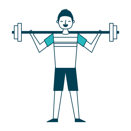 young man training lifting weight barbell vector illustration green design
