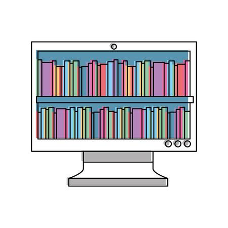 boeken op beeldscherm online bibliotheek onderwijs vector illustratie