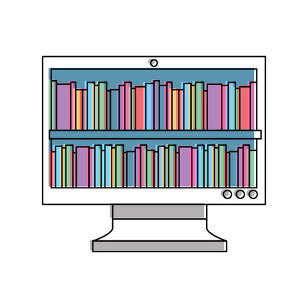 books on monitor screen online library education vector illustration