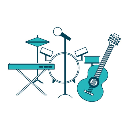 musical instruments saxophone synthesizer guitar battery microphone vector illustration green design