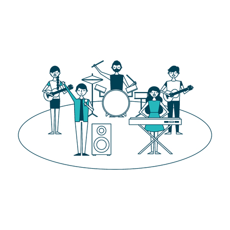 musician band concert people with instruments vector illustration green design