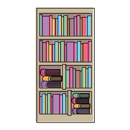 large bookcase with different books literature vector illustration