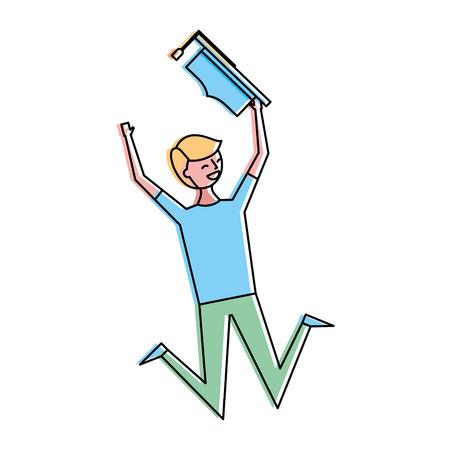 happy jumping student man hat graduate vector illustration