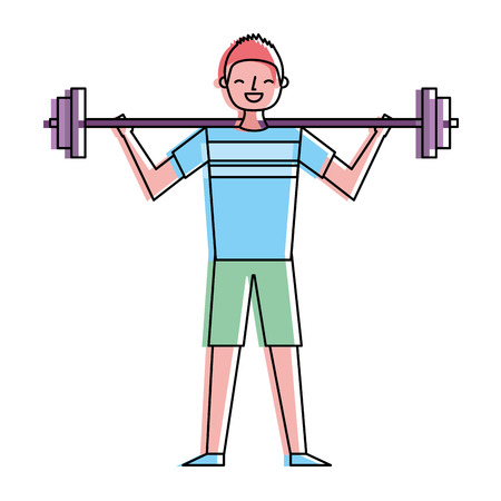 young man training lifting weight barbell vector illustration