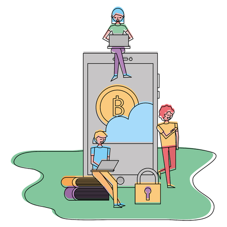 young people with laptop smartphone bitcoin cloud security technology vector illustration