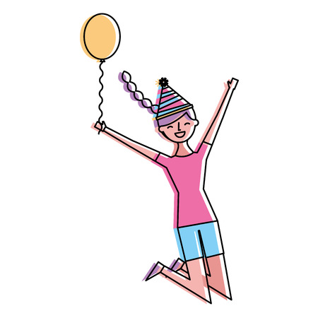 happy jumping woman with party hat holding balloon vector illustration
