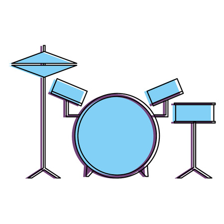 musical drums battery set instruments vector illustration Illustration