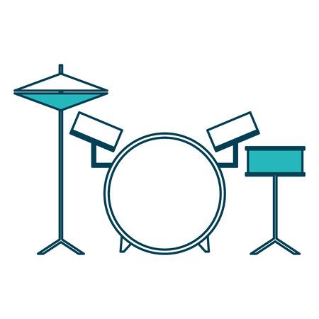 musical drums battery set instruments vector illustration green design