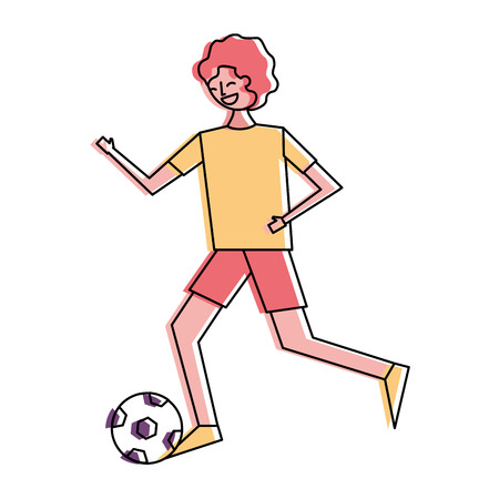 young man running with soccer ball vector illustration