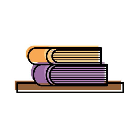 two books on shelf learn read literature vector illustration Иллюстрация