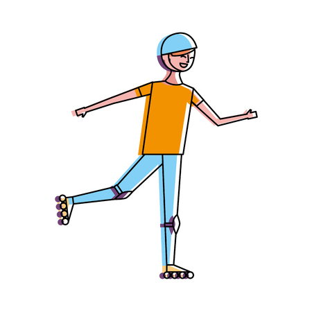 happy young man riding in roller skate sport vector illustration Ilustrace
