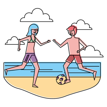 couple cartoon playing in the beach with soccer ball vector illustration