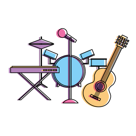 musical instruments saxophone synthesizer guitar battery microphone vector illustration