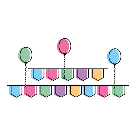 pennant and balloons party decoration vector illustration