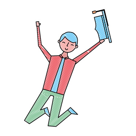 happy jumping student man hat graduate vector illustration drawing color Illustration