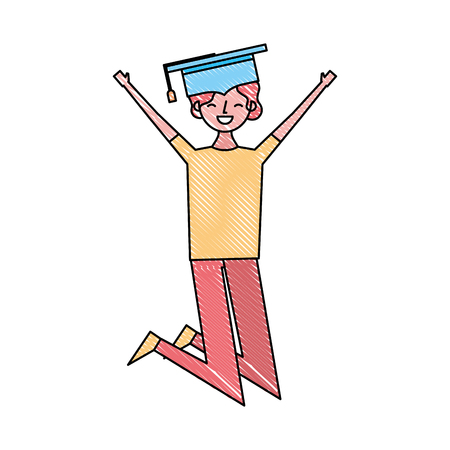 cartoon character young graduate woman jump from happiness vector illustration drawing color