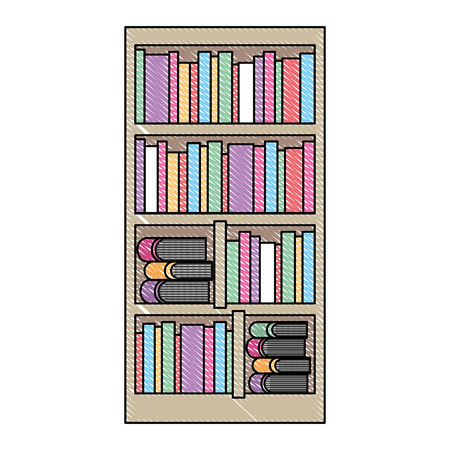 large bookcase with different books literature vector illustration drawing color