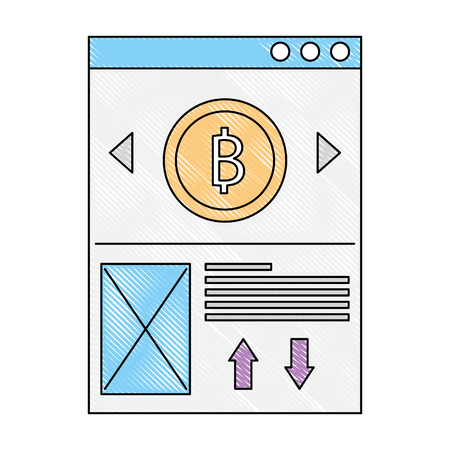 website bitcoin business message image vector illustration drawing color