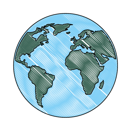 globe world planet map earth image vector illustration drawing color Stock Illustratie