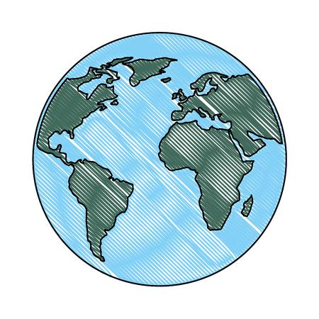 globe world planet map earth image vector illustration drawing color Ilustração