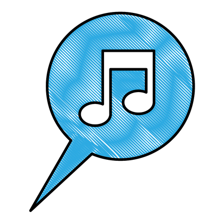 speech bubble note music sound media vector illustration drawing color Vettoriali