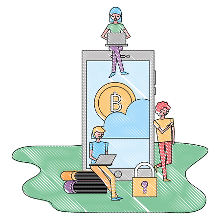 young people with laptop smartphone bitcoin cloud security technology vector illustration drawing color