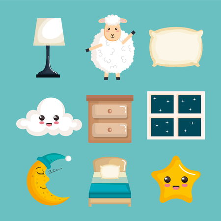 sleep time icons flat set with vector illustration