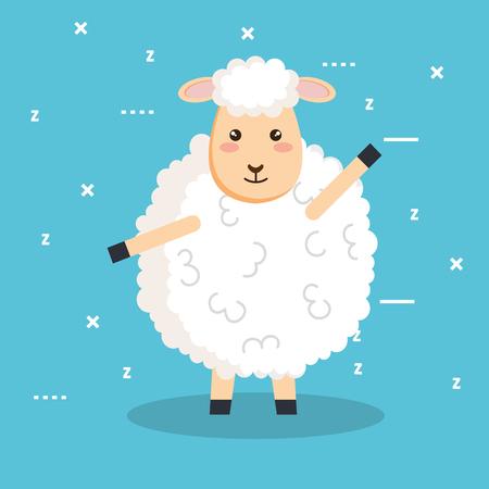 good night sleep cartoon sheep animal vector illustration