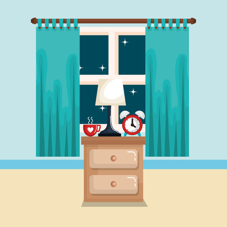 bedroom bedside lamp cup clock with time for sleep vector illustration