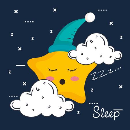 雲と星のアイコン睡眠夜の夢シンボルベクターイラスト  イラスト・ベクター素材