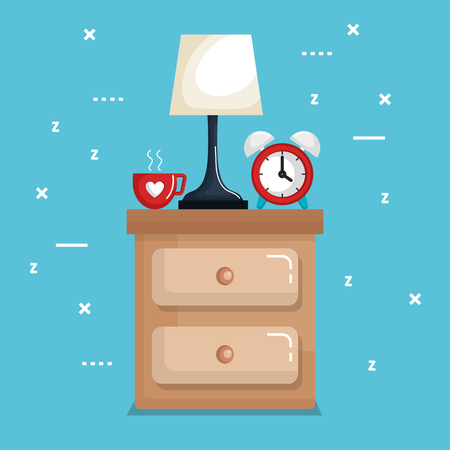 clock table lamp with time for sleep vector illustration