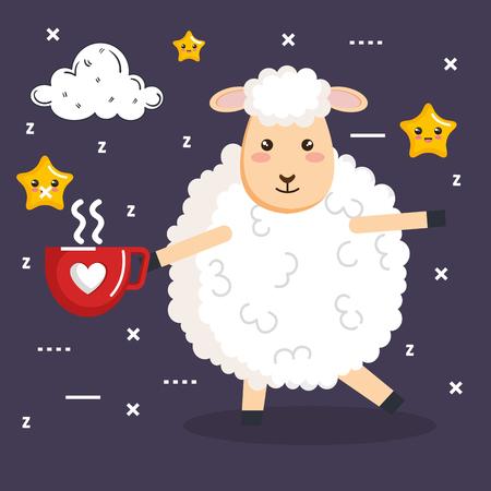 good night sleep cartoon sheep with coffee cup vector illustration Illustration
