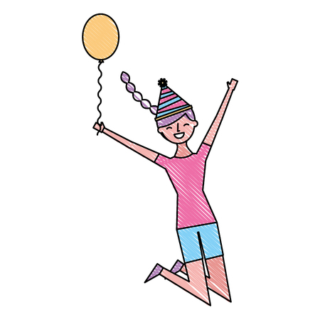 happy jumping woman with party hat holding balloon vector illustration drawing color