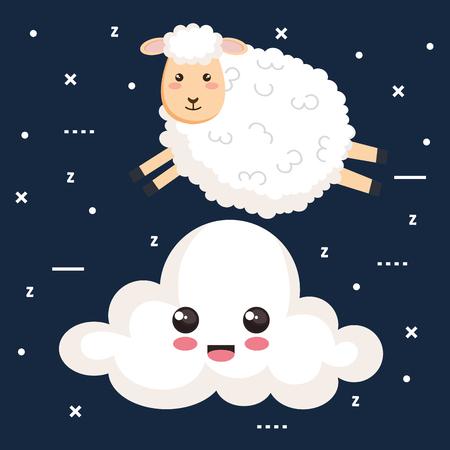 good night sleep cartoon sheep jump cloud animal vector illustration Illustration
