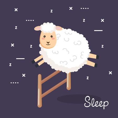 good night sleep cartoon sheep jump fence vector illustration Illustration