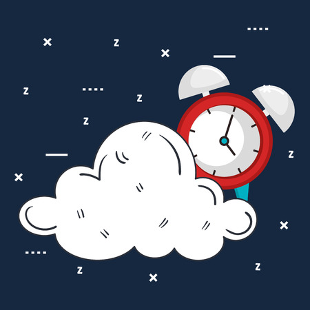 clock with time for sleep cloud vector illustration