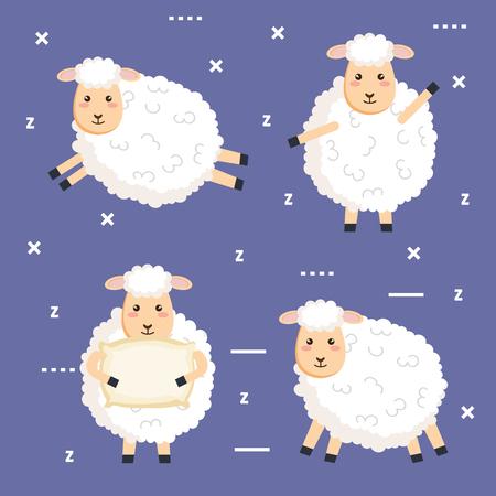 良い夜の睡眠漫画羊コレクションベクターイラスト