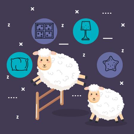 good night sleep cartoon sheep jumping fence vector illustration Illustration