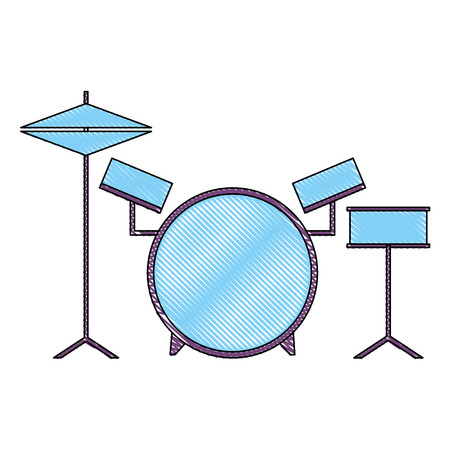 musical drums battery set instruments vector illustration drawing color Illustration