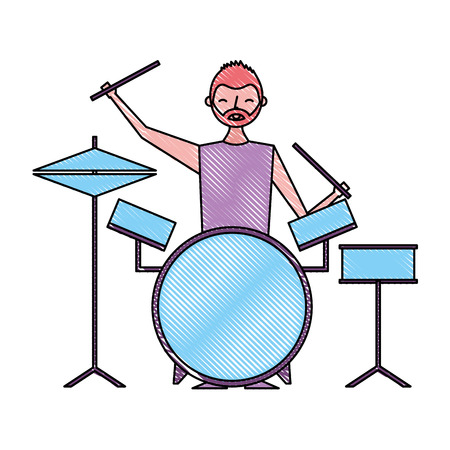 smiling man playing instrument music battery vector illustration drawing color