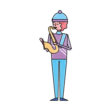 musician young man playing saxophone in warm clothes vector illustration drawing color