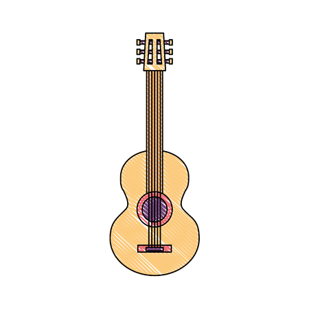 classic guitar instrument musical image vector illustration drawing color
