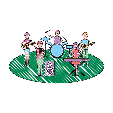 musician band concert people with instruments vector illustration drawing color