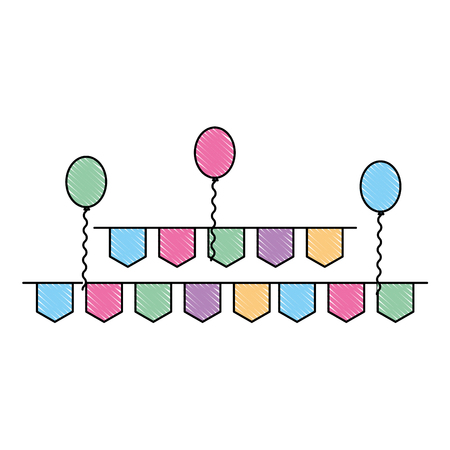 pennant and balloons party decoration vector illustration drawing color