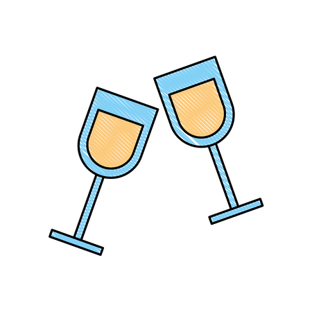 two glass cup liquor drink image vector illustration drawing color 일러스트