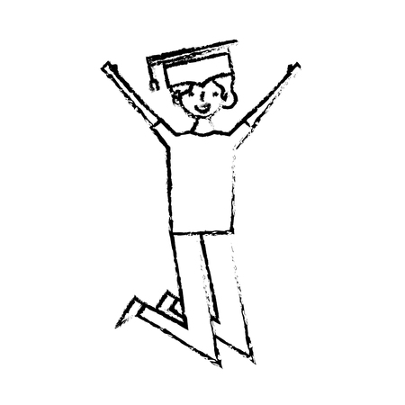 cartoon character young graduate woman jump from happiness vector illustration sketch design Illustration