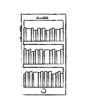 smartphone stock of books in screen reading online vector illustration sketch design